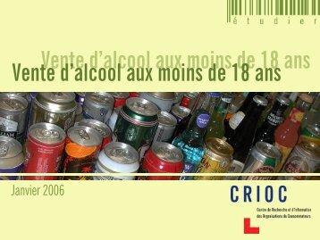 Vente d'alcool aux moins de 18 ans - Crioc