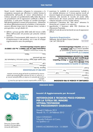 metodologie e tecniche psico-forensi per la tutela del minore vittima ...