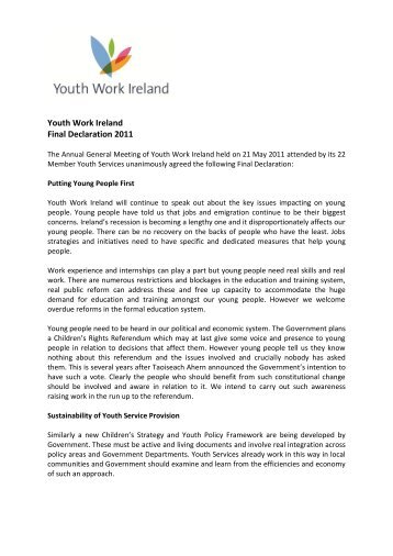 Youth Work Ireland Final Declaration 2011
