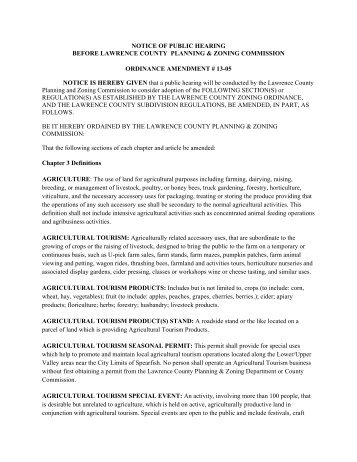 notice of public hearing before lawrence county planning & zoning ...