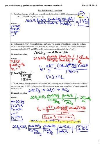 Printables Gas Stoichiometry Worksheet Answer Key gas stoichiometry worksheet imperialdesignstudio worksheet
