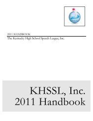 KHSSL Handbook - Kentucky High School Speech League