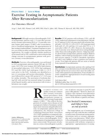 Exercise Testing in Asymptomatic Patients After Revascularization