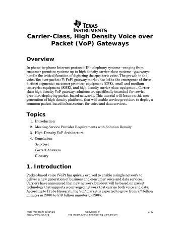Carrier-Class, High Density Voice over Packet (VoP) Gateways