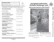 Kirchennachrichten Oktober / November - Kirchspiel Radeberger Land
