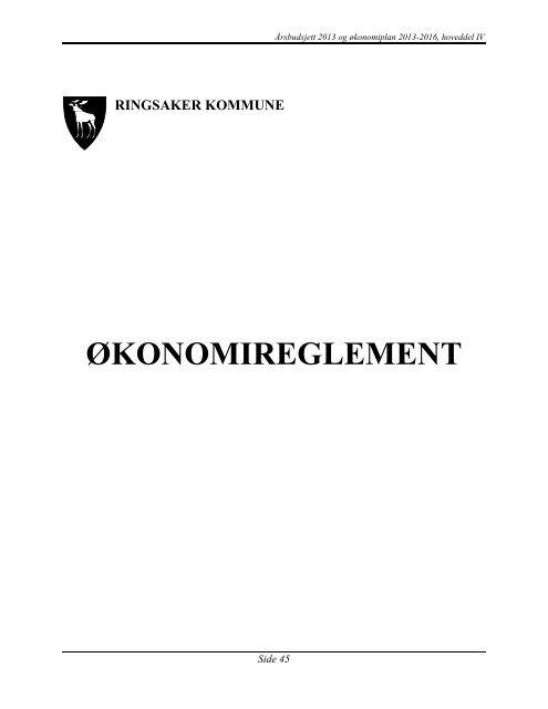 Hoveddel 4 Økonomireglement - Ringsaker kommune
