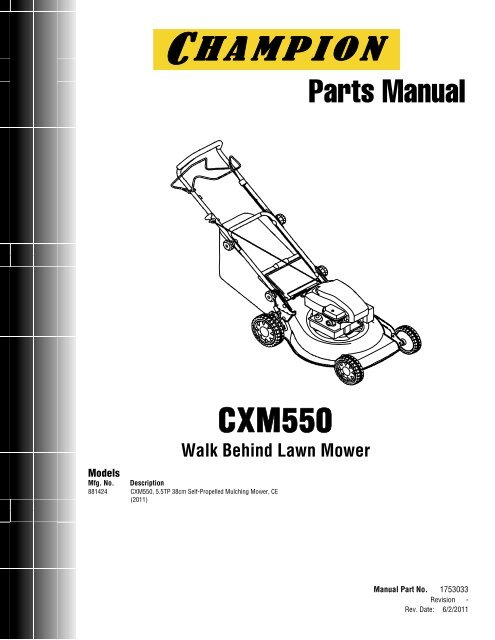 ILLUSTRATED PARTS LIST - Champion 881424 CXM550 38cm