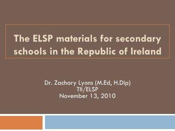 Assessing the impact of ELSP materials July 2010 - NALDIC