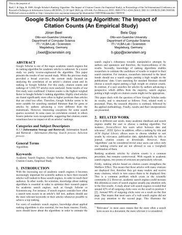 Google Scholar's Ranking Algorithm: The Impact of ... - Bela Gipp