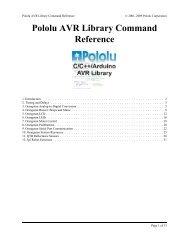 Pololu - Pololu AVR Library Command Reference - Robot MarketPlace