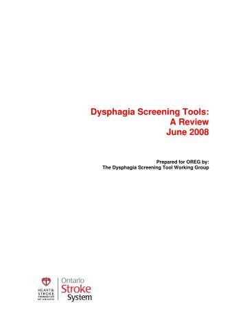 Dysphagia Screening Tools: A Review June 2008 - West GTA ...