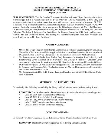 announcements approval of the minutes consent agenda