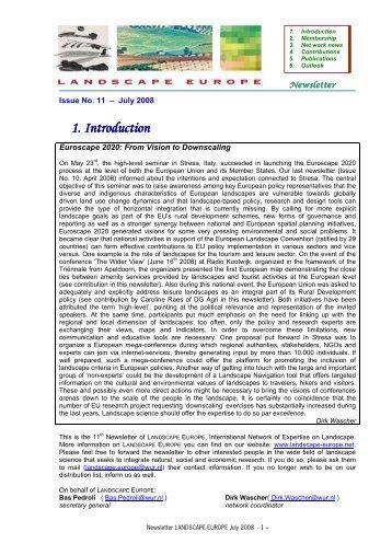 Newsletter July 2008 - Landscape Europe