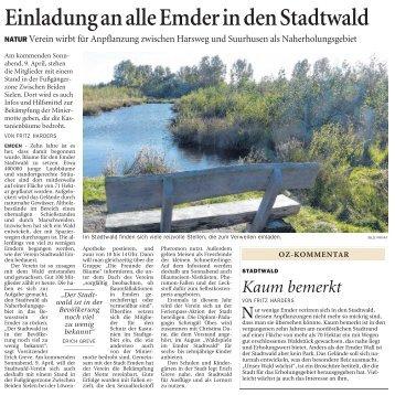 Ostfriesen Zeitung vom 05.04.2011 - Stadtwald Emden eV