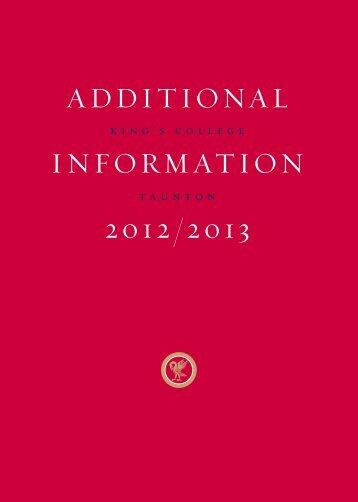 ADDITIONAL INFORMATION 2012/2013 - Jules Akel