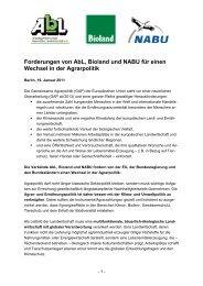Forderungen von AbL, Bioland und NABU für einen Wechsel in der ...