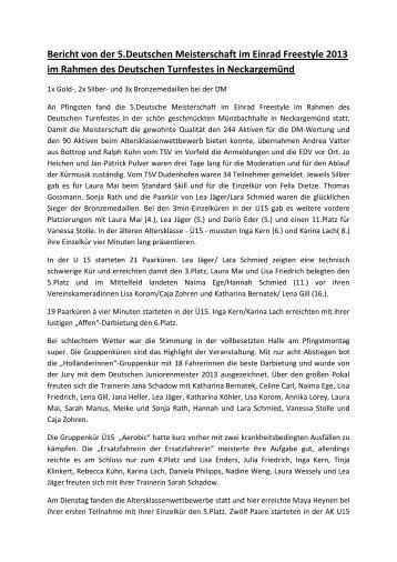 Bericht von der 5.Deutschen Meisterschaft im ... - Einrad im BDR