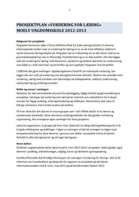 prosjektplan «vurdering for læring - Ringsaker kommune