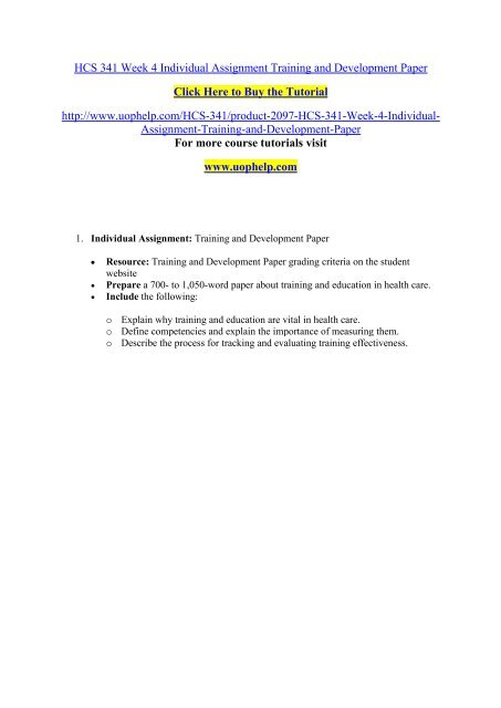 training and development assignment