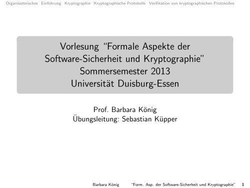 Formale Aspekte der Software-Sicherheit und Kryptographie
