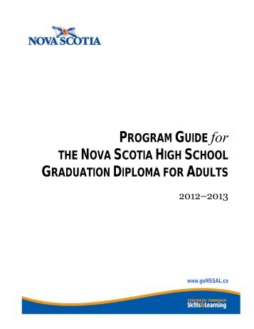 Adult learning program guide - Nova Scotia School for Adult Learning