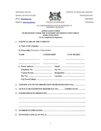 Application Form for the Sale of Finished Products in the Local market