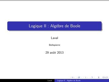 Logique II : Algébre de Boole