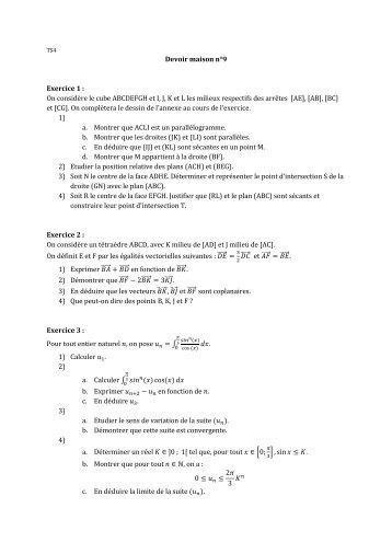 On considère le cube ABCDEFGH et I, J, K et L les milieux respectifs ...