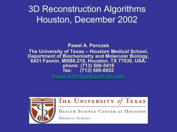3D Reconstruction Algorithms Houston, December 2002 - NCMI