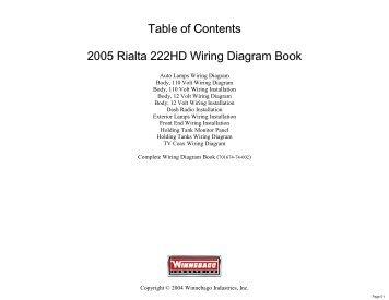 complete wiring diagram book winnebago rialta motor home rh yumpu com Residential Electrical Wiring Diagrams Light Switch Wiring Diagram