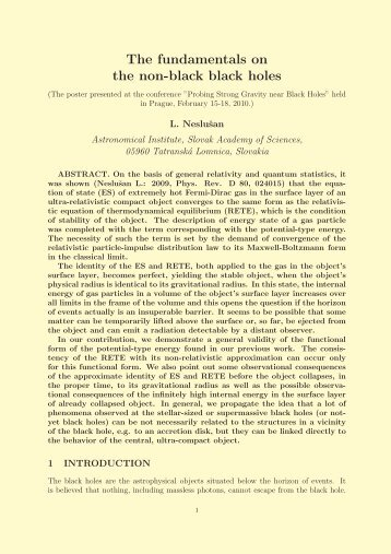 The fundamentals on the non-black black holes - Prague Relativistic ...