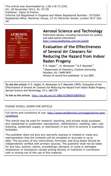 Evaluation of the Effectiveness of Several Air Cleaners for Reducing ...