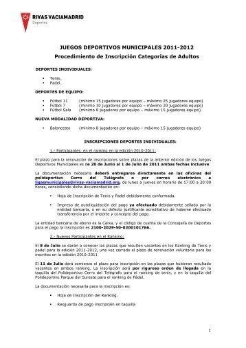 procedimiento inscripción juegos deportivos adultos 2011-2012