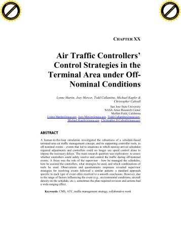 Air Traffic Controllers - Human Factors Research and Technology ...