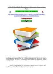 BCOM 275 Week 2 Individual Assignment Demonstrative Communication Paper/indigohelp