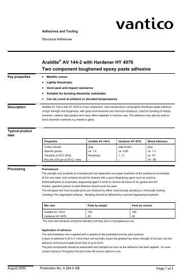 Araldite AV 144-2 with Hardener HY 4076 Two component ...