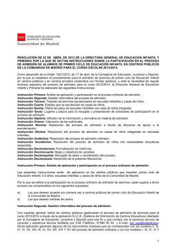 Instrucciones sobre la participación en el proceso de admisión de ...