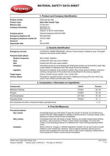 MSDS F829-002-0411ME - Spot Lifter Powder Type - Cansew, Inc
