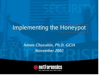 Implementing the Honeypot - Tracking Hackers