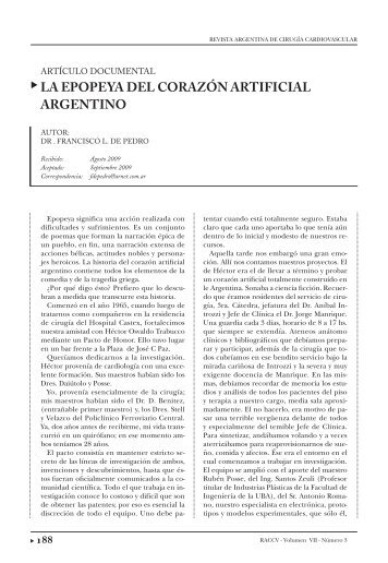 LA EPOPEYA DEL CORAZÓN ARTIFICIAL ARGENTINO - caccv.org.ar