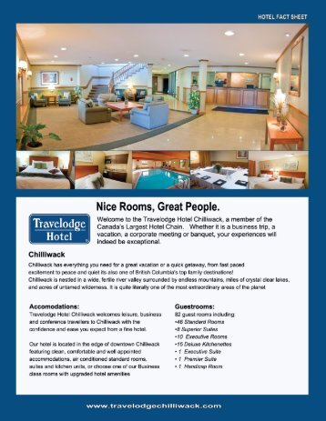Hotel Fact Sheet - Travelodge Chilliwack