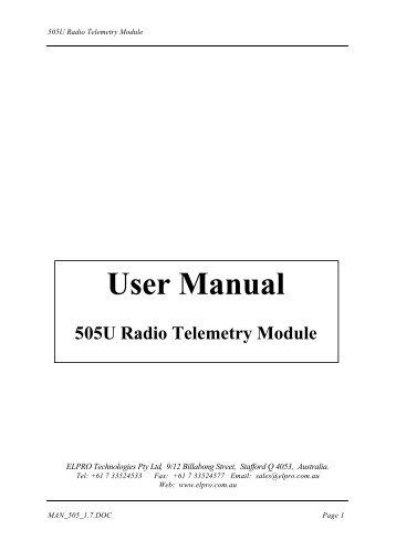 505U Radio Telemetry Module USER MANUAL - TABATEQ