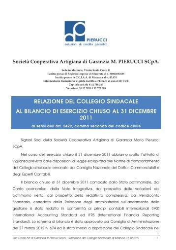 relazione del collegio sindacale al bilancio di esercizio ... - Pierucci