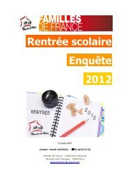 Rentrée scolaire Enquête 2012 - Familles de France