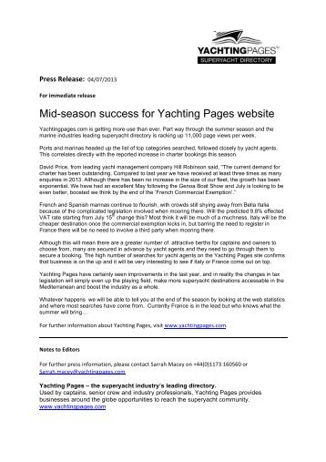 04 July Midseason success for Yachting Pages website