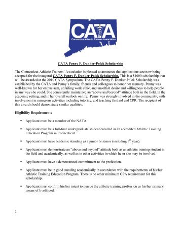 CATA Penny F. Dunker-Polek Scholarship The Connecticut Athletic ...
