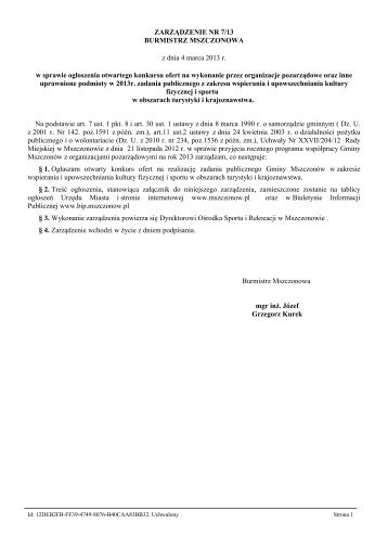 Zarządzenie Nr 7/13 z dnia 4 marca 2013 r. - Mszczonów, Urząd ...