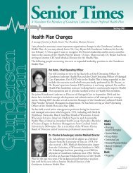 Health Plan Changes Senior Times A Newsletter For Members of ...