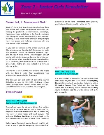 2013 May Newsletter - Zone 2 Ladies