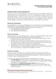 Arbeitssicherheit und Gesundheitsschutz - Benevol Schweiz